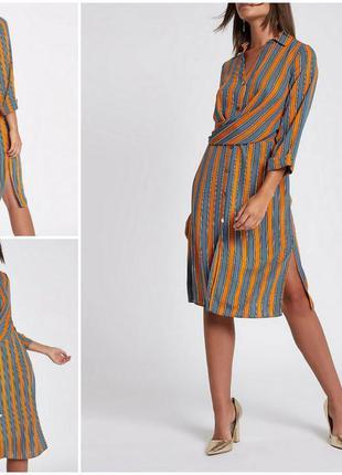 Платье рубашка с длинным рукавом в полоску