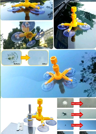 Клей полимер для ремонта трещин лобового стекла, комплект