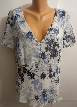 Двухслойная шифоновая блуза цветочный принт 22/56-58 размера