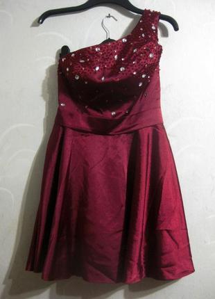 Платье модного дома jj's house бургунди марсала бордо камни ст...