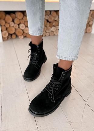 Шикарные женские ботинки dr.martens 1460 black suede