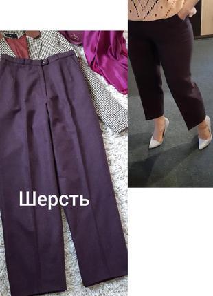 Актуальнып стильные укороченные шерстяные брюки в бордовом цве...