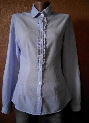 Блузка рубашка по фигуре в мелкую полоску  размер 6 zara woman