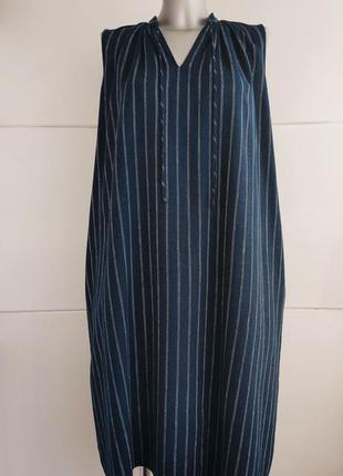 Стильное платье uniqlo в полоску с карманами