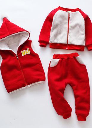 Тройка костюм теплый на 1-2 годика