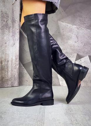 ❤ женские черные зимние кожаные сапоги ботфорты (есть в осенне...