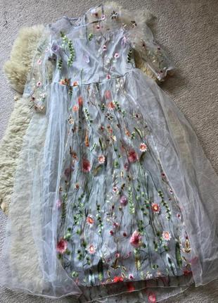 Платье вышивка фатин