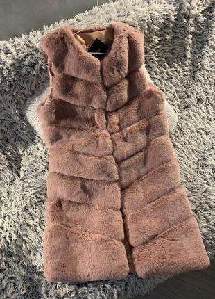 Жилетка искусственная эко мех пудровая кролик рекс шуба