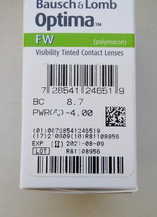 Контактные линзы Optima FW - 4 шт. Оптическая сила -4
