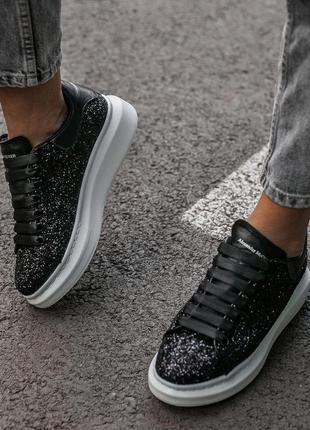 Кроссовки женские alexander mcqueen luxury svarovski black white