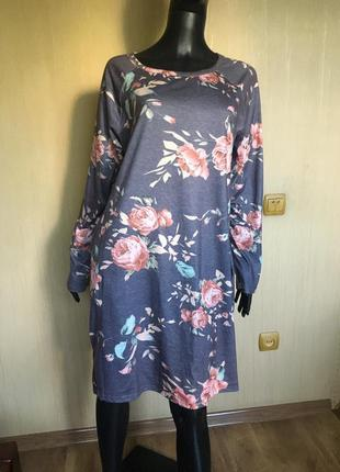 Платье, туника в цветочный принт