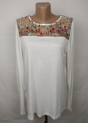 Блуза трикотажная красивая с вышивкой цветы сеточка uk 12/40/m