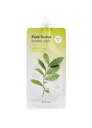 Ночная увлажняющая маска-антиоксидант с зеленым чаем missha pu...