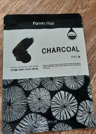 Маска для лица visible difference mask sheet charcoal farm stay