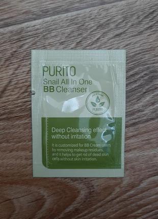 Очищающий гель с муцином улитки purito snail all in one bb cle...