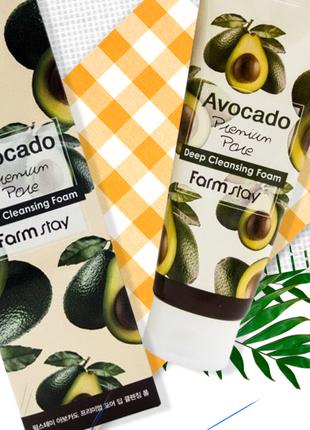 Пенка для умывания farmstay avocado premium pore deep cleansin...