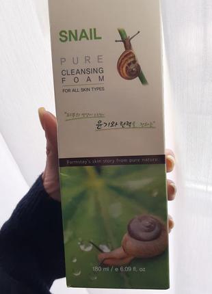 Улиточная деликатная пенка для умывания farmstay snail pure cl...