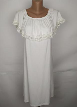 Платье белое новое натуральное с кружевном по верху new look u...