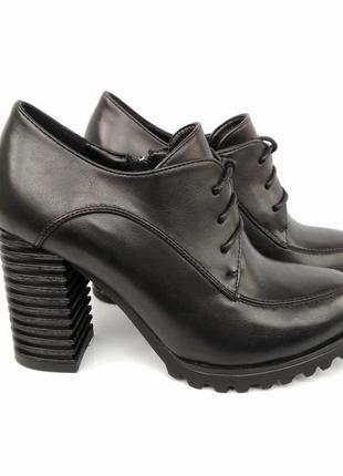 Черные туфли на каблуке, чорні туфлі на каблуку 38р-24,5 см