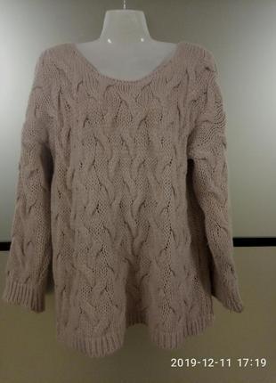 Пыльно-розовый вязаный свитер/кофта/джемпер. свитер оверсайз. ...