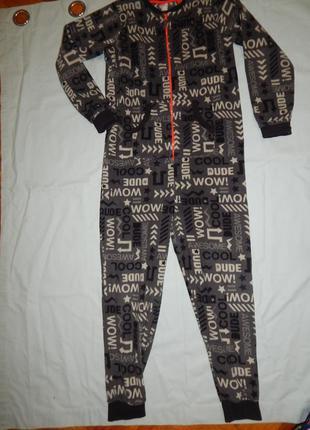 Слип пижама человечек флисовый на  11-12 лет 146-152 см
