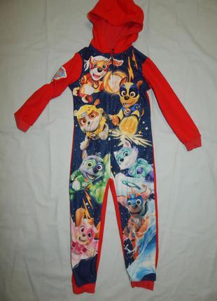 Пижама слип человечек флисовый на 4-5 лет 104-110 см paw patrol