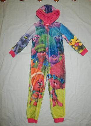 Пижама плюшевая слип человечек на 6-7 лет 116-122 см trolls