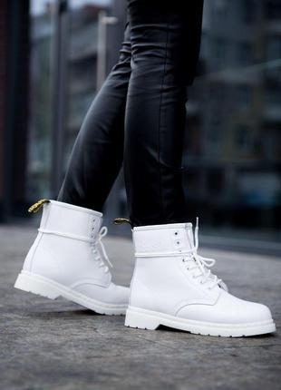Зимние ботинки dr martens белый цвет меховые (36-40)💜