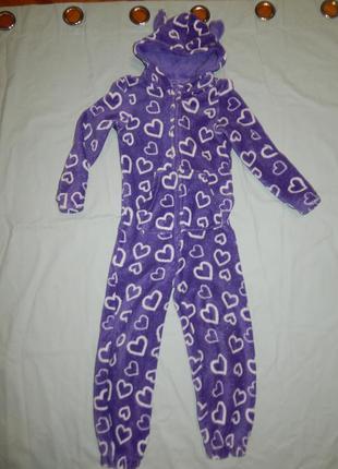 Пижама плюшевая слип человечек на 6-7 лет 116-122 см milka