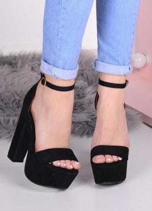 Чёрные замшевые босоножки на высоком каблуке,замшевые босоножк...
