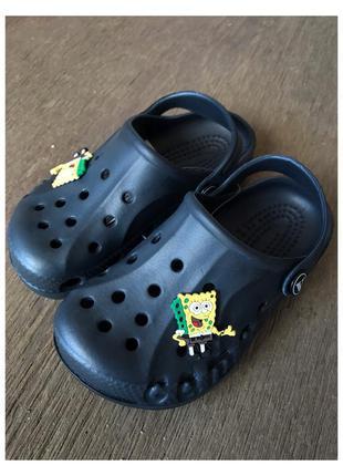 Новые чёрные детские кроксы, тапочки губка боб , шлепки