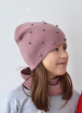 Двойная демисезонная шапка для девочки от 5 лет 52 54 56