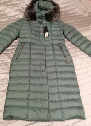 Зимнее длинное пальто мята р. 50