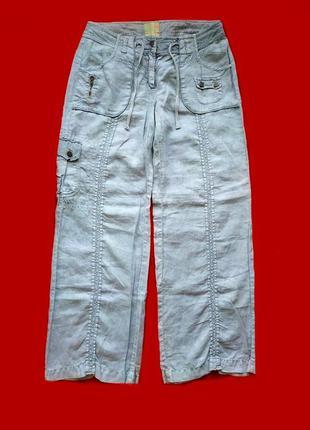 Крутые штаны карго лен 100% брюки🌸отделка трикотаж см. описание