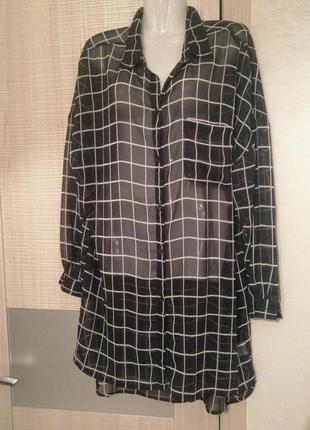 Длинная шифоновая рубашка-туника в клетку