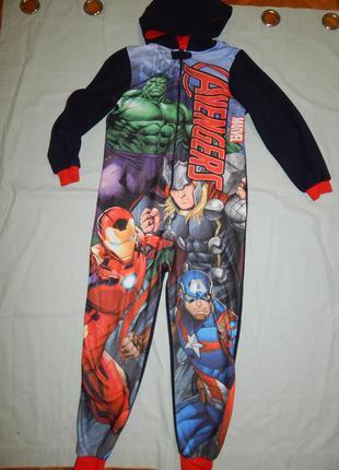 Пижама флисовая слип человечек на 11-12 лет 152 см avengers