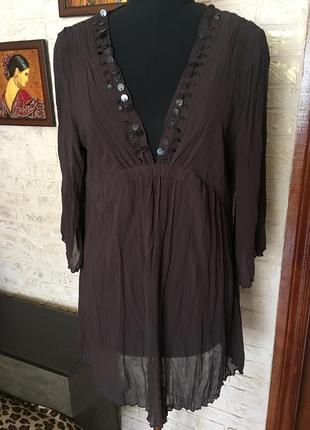 Шифоновая блуза с бусинами