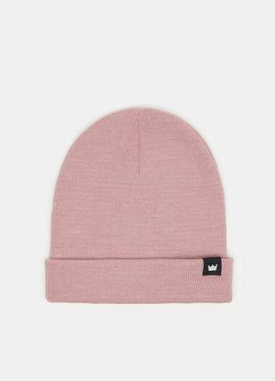 Новая однотонная розовая шапка пыльная роза нашивка корона мин...