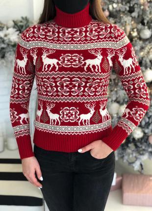 Женский свитер с оленями 🦌 красный
