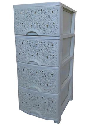 Комод, шкафчик органайзер пластиковый Ажурный на 4 ящика