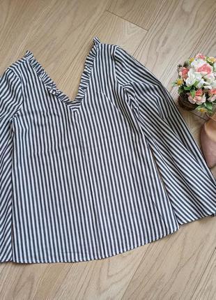 Стильная блуза в полоску с широкими рукавами, s-m