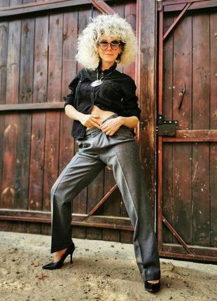 Шерстяные брюки штаны brax с защипами высокая посадка прямые ш...