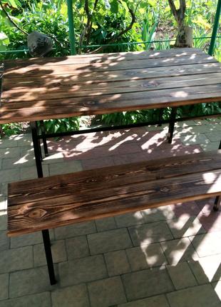 Стол садовый + 2 лавки