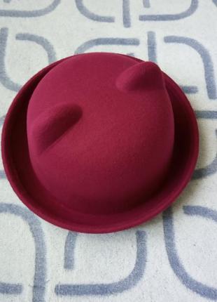 Шляпа женская котелок кошечка с ушками бордовая