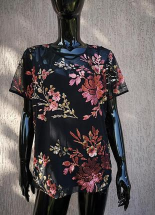 Невероятно красивая блуза с коротким рукавом вышивка пайетки