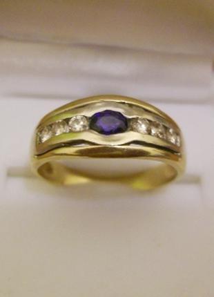 Золотое кольцо сапфир бриллианты