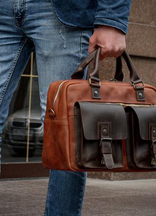 Коричневый кожаный саквояж, Кожаная дорожная сумка мужская