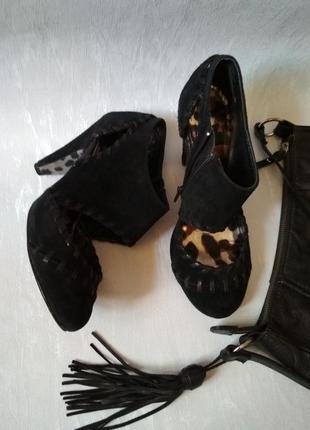 Женские черные замшевые туфли на каблуке CONTRA