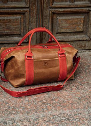 Коричневая дорожная сумка кожаная, Спортивная мужская сумка