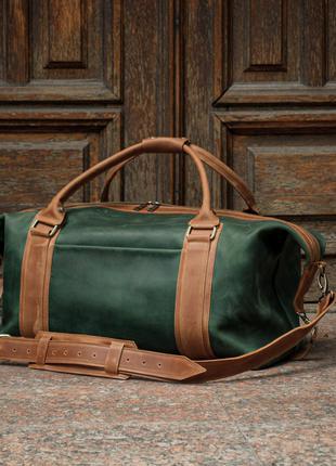 Зеленая дорожная сумка кожаная, Спортивная зеленая мужская сумка